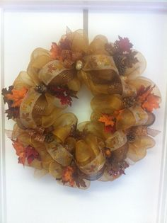 Deco Mesh fall Wreath by DazzlemeWreaths on Etsy, $85.00