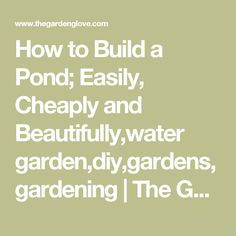 How to Build a Pond; Easily, Cheaply and Beautifully,water garden,diy,gardens,gardening | The Garden Glove