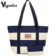 Ladies Large Beach Canvas Color Striped Handbag //Price: $13.95 & FREE Shipping //     #hashtag4