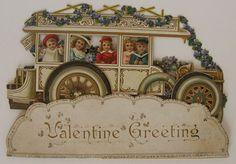 Victorian Trolley & Passengers ~ Large Antique Pop-Up Valentine