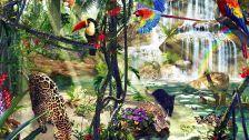 Jungle residents waterfall parrots leopard