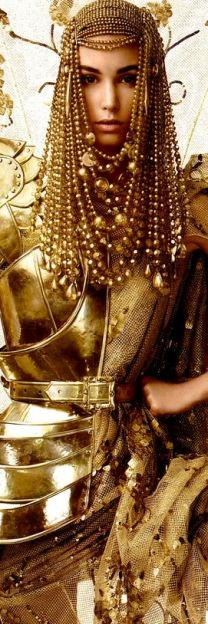 gold bead headdress and armor