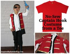 No-sew captain hook costume from a Tee hook costum, famili, nosew captain, costume ideas, captain hook, dress up, t shirts, pirate costumes, christmas gifts