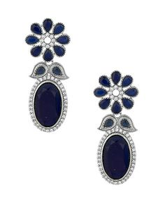 Victorian Style Pretty Flower Earrings Studded With Cz, Blue Stones