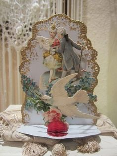 Vintage Valentine Stand Up Card with white dove