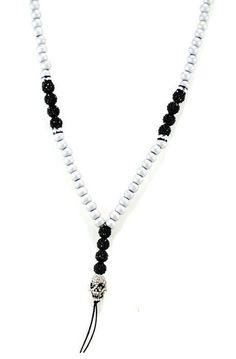 Shamballa Skull Necklace in Silver and Black