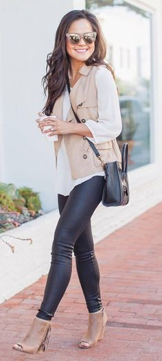 cute casual outfit shirt + leather skinny pants + bag + heels + vest