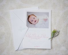 Mary's Sweet + Feminine Letterpress Baby Announcements | Design: Holly Hollon Design + Calligraphy | Letterpress Printing: Four Hats Press | Photo Credits: Stacy Richardson Photography