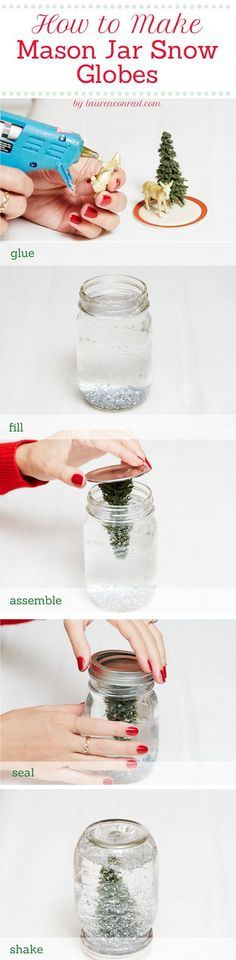 Decorating with Mason Jars • Lot's of creative ideas and tutorials, including this DIY mason jar snow globe by 'Lauren Conrad'!:
