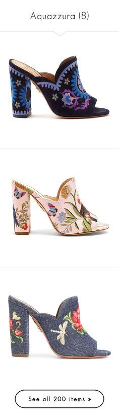 """Aquazzura (8)"" by bianca-cazacu ❤ liked on Polyvore featuring shoes, aquazzura shoes, block heel mules, floral pattern shoes, floral-print shoes, floral shoes, blue, blue shoes, open toe mule shoes and denim high heels shoes"
