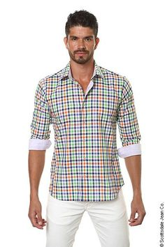 I love this dress shirt! The different colours make it look so. My mother would surely approve.she loves colours. New Mens Fashion, Holiday Fashion, Spring Fashion, Ag Jeans, Alternative Outfits, Plaid Dress, Dress Shirt, Summer Collection, Shirt Style