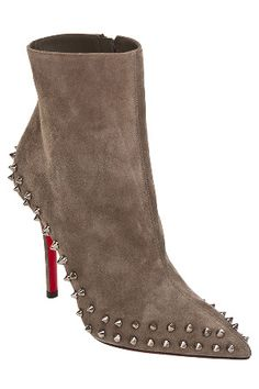 Louboutin Wiletta-100 Suede Spiked Bootie in Cendre