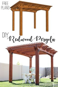 Build a redwood pergola with details and wow factor. Free plans and pattern to create this beautiful redwood pergola for your outdoor space. Gazebo, Pergola Diy, Building A Pergola, Pergola Plans, Pergola Ideas, Garage Pergola, Pergola Shade, Wood Pergola, Backyard Ideas
