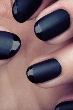 goth french manicure -- matte black base and glossy black tips