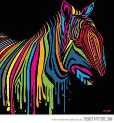 Pop Art Zebra made with drippy paint…
