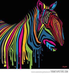 Pop Art Zebra made with drippy paint…