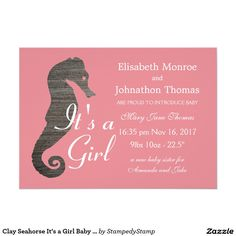 Clay Seahorse It's a Girl Baby Announcement