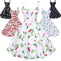 Maggie Tang 50s Cherry VTG Hepburn Rockabilly Pinup Party Swing Dress K-537 #MaggieTang #FullSwingDress #WeartoWork