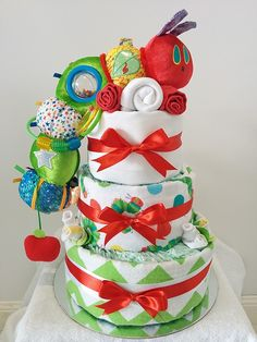 Hungry Caterpillar Three Tier Nappy Cake - Custom Made - Neutral, Colourful