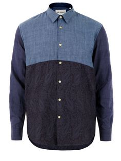 Our Legacy – mens panelled mixed indigos marble shirt with a slim collar and long sleeves. The shirt also features an indigo paisley front and rear panel, single button cuffs and a curved hem. Our Legacy at Coggles.com. £130. #fashion #coggles http://www.coggles.com/item/Our-Legacy/Mixed-Indigos-Marble-Shirt/BZOX#