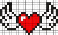 Heart With Wings Perler Bead Pattern / Bead Sprite - Heart With Wings Perler Bead Pattern / Bead Sprite - Fuse Bead Patterns, Kandi Patterns, Perler Patterns, Beading Patterns, Quilt Patterns, Perler Bead Art, Perler Beads, Pixel Art Coeur, Cross Stitch Designs