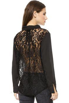 Blusa suelta cuello pico encaje manga larga-negro 12.60