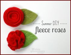 #Summer DIY #Fleece #Roses - Make these pretty flowers with just a bit of fleece and some thread. Sew (or hot glue) a barrette or pinback to the back and you've got a fun accessory, or use them to adorn a handmade doll!
