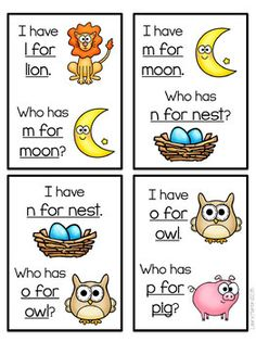 I Have, Who Has Game-ABC Fun by Laura Martin | Teachers Pay Teachers Kindergarten Morning Work, Kindergarten Language Arts, Kindergarten Games, Preschool Learning, Preschool Ideas, Preschool Activities, Abc Games For Toddlers, Abc For Kids, Reading Practice