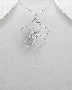 STERLING SILVER ISLAND ALOHA FLOWER PENDANT NECKLACE #Pendant