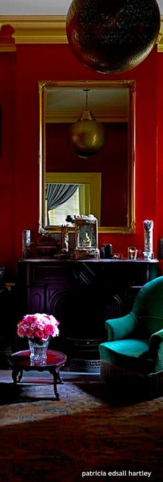. Red Home Decor, English Manor, Shades Of Red, Villa, Touch, Mansions, Interior, Beautiful, Color