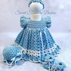 Baby and Toddler Girl's Blue Dress with Matching Easter Bonnet - Newborn to 12 Months - Coming Home - Baptism - Special Occasion Baby and Toddler Girl's Blue Dress with Matching Easter Crochet Baby Dress Pattern, Baby Girl Dress Patterns, Crochet Baby Bonnet, Knit Baby Dress, Baby Patterns, Knit Crochet, Crochet Patterns, Crochet Hats, Baby Girl White Dress