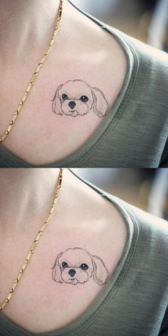 Small Dog Memorial Minimalist Shoulder Tattoo Ideas for Women - pequeñas ideas minimalistas del tatuaje del hombro del perro - www.MyBodiArt.com