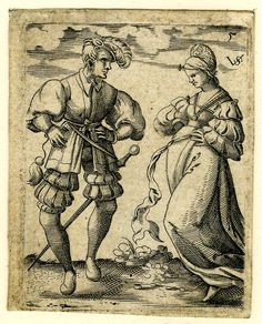 """""""Dancers and Musicians"""", 1539-1562. Virgil Solis. A dancing couple; the male figure at left in frontal view, the head in profile to right, his arms akimbo; the female figure at right in three-quarter profile to left, stepping to left; from a series of ten plates of dancing couples, musicians and drinkers."""