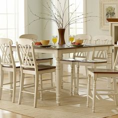 Weston Home Ohana Counter Height Dining Table with Leaf White & Cherry - 1393W-36