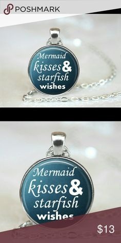 Mermaid kisses starfish wishes necklace set silver New necklace with pendant Silver colored chain Beautiful glass pendant Jewelry Necklaces