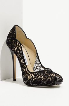 Jimmie Choo 'Faith' Lace Peep Toe Pump