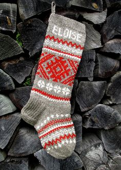 Christmas Stocking  Hand knit Wool Folksy ornaments  Gray with