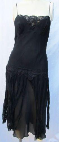 Betesy Johnson Black Lingerie Lace Dress Chiffon Fringe Drop Waist 20s Flapper   eBay