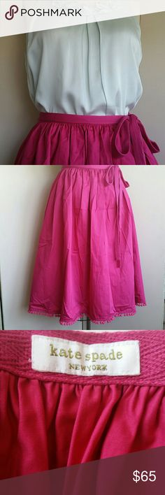 """Kate Spade Wrap Fushia Pom Pom Trim Skirt Brilliant fushia, gathered wrap skirt 37"""" wide, 27"""" long with pom pom trim. Wraps one and a half times for 27"""" waist. New, unworn condition. True color is darker than depicted. kate spade Skirts A-Line or Full"""