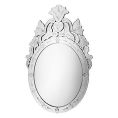 Leoni Wall Mirror, Etched Decorative Frame, Bevelled Edge