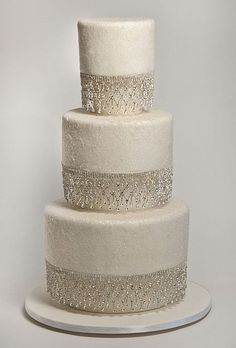 Wedding Cakes that Sparkle, attach sparlies to cake stand bases