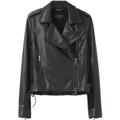 Rag & Bone Langlen Moto Jacket (£420) ❤ liked on Polyvore featuring outerwear, jackets, coats, leather jackets, black jacket, biker jacket, black biker jacket, leather motorcycle jacket and motorcycle jacket