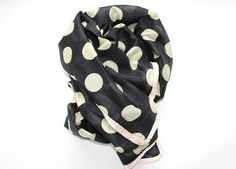 Scarf - Cotton and Silk - Black, beige, pink - Silk Route - www.legoutdescouleurs.be