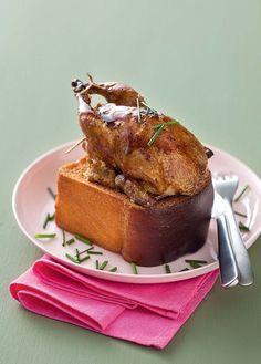 Cailles en cage farcies au foie gras