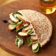 Grilled Chicken, Spinach, and Pear Pitas