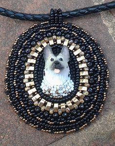 Beaded Alsatian German Shepherd Dog Necklace Pendant