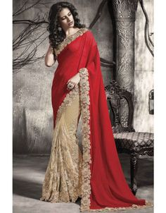 Spectacular Beige and Red #Saree