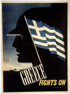 Greece Fights On - Propaganda Poster - Fine Art Giclée Print Old Posters, Travel Posters, Vintage Posters, Propaganda Art, Greek History, Greek Culture, Pub, Japan, Military History