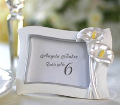 Swaying Calla Lily Pearlescent Place Card/ Photo Frame Buy Placecard Frame] : Wholesale Wedding Supplies, Discount Wedding Favors, Party Favors, and Bulk Event Supplies Wedding Favors Cheap, Bridal Shower Favors, Diy Wedding, Wedding Gifts, Wedding Reception, Cheap Favors, Wedding Favours, Wedding Programs, Party Favors