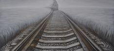 Trendykunst presenteert dit prachtige schilderij van een aanstormende trein  Olieverf schilderijen zijn met de hand geschilderd op doek.